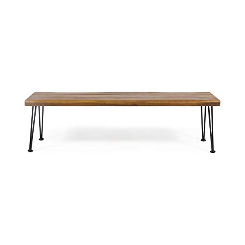 Christopher Knight Home 312780 Gladys Outdoor Modern Industrial Acacia Wood Bench Hairpin Legs, Teak...
