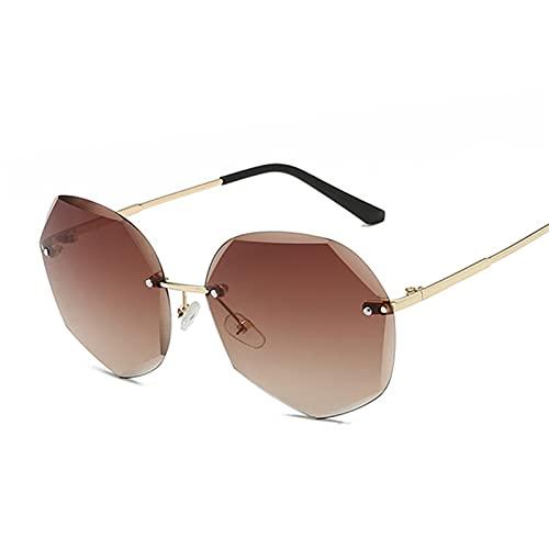 FDNFG Gafas de Sol Vintage Polygon Gafas de Sol Mujeres Moda de Lujo Gafas de Sol Femenino Femenino Océano Color Metal Gradiente Gafas Grandes Sombras Gafas de Sol (Lenses Color : DoubleBrown)