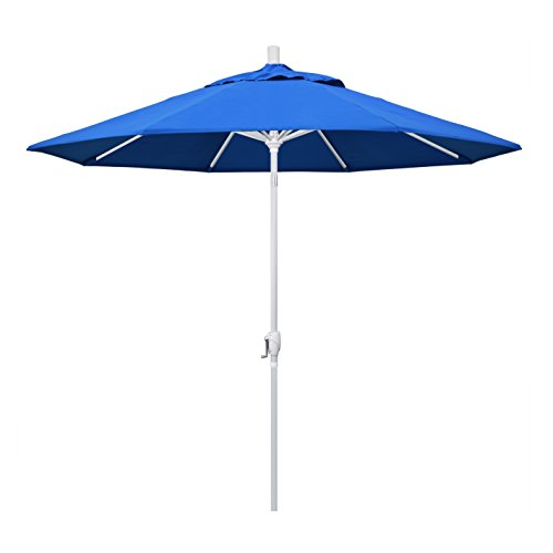 California Umbrella GSPT908170-F03 9' Round Aluminum Market, Crank Lift, Push Button Tilt, White Pole, Royal Blue Olefin Patio Umbrella