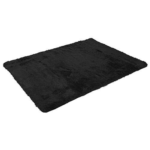 Mendler Teppich HWC-F69, Shaggy Läufer Hochflor Langflor, Stoff/Textil flauschig weich 200x140cm ~ schwarz
