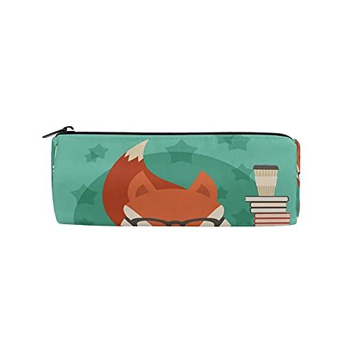 Aniaml Fox - Estuche educativo para lápices, con cremallera, organizador de papelería, bolsa de maquillaje para niños, niñas, escuela, adultos, suministros de oficina