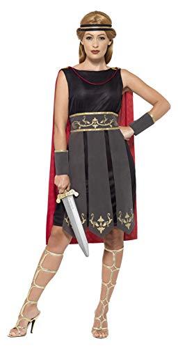 Smiffys 45496S - Damen Römische Kriegerin Kostüm, Kleid mit Umhang, Arm Stulpen und Haarband, Größe: 36-38, schwarz