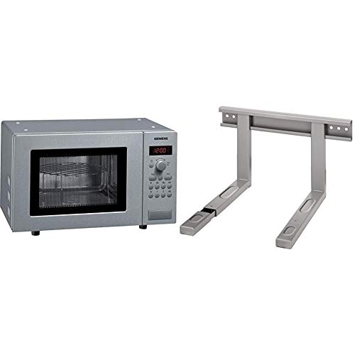 Siemens HF15G541 iQ300 Mikrowelle / 17 L / 800 W/Edelstahl/Gewichtsautomatik & Xavax Mikrowellenhalterung ausziehbar (Mikrowellen-Halter für die Wand-Befestigung) silber