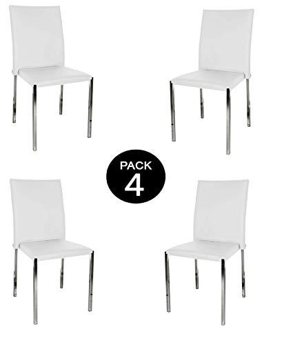 MUEBLIX | Pack 4 Sillas Blancas | Fabricadas en Piel Sintética PU | Elegante y Moderna | Mueble de Polipiel para Comedor o Piel | Útil para Salón | Silla Teba