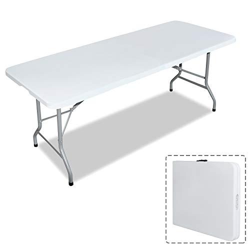 Aufun Klapptisch Gartentisch Buffettisch Klappbar Campingtisch für Garten Camping Wohnzimmer, Stabil & Standfest Esstisch aus HDPE-Kunststoff, 180 x 75 x 74cm, Weiß