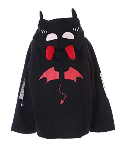Kawaii-Story TS-278 - Sudadera con capucha, diseño de murciélago bordado, color negro
