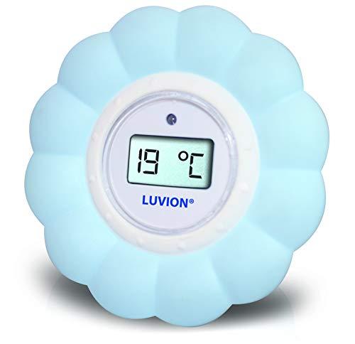 Luvion Badthermometer en Kamerthermometer met Digitaal LCD Scherm - Bloem (Blauw)