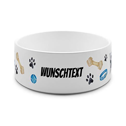 printplanet® - Futternapf mit Name oder Text Bedruckt - Für Hunde - Napf Hundenapf Wassernapf selbst gestalten - Motiv: Tatzen-1