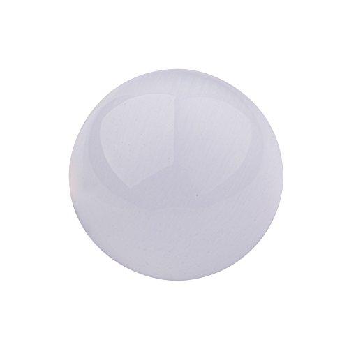 Quiges Glas 10 mm Eligo Kugel Cat Eye Weiß für Silber Ring und Anhänger