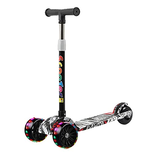 HDZW 3 Ruedas niños Scooter amp Balance Bicicleta Altura Ajustable para niña de 3 a 12 años 4.22 (Color : Multi-Colored)