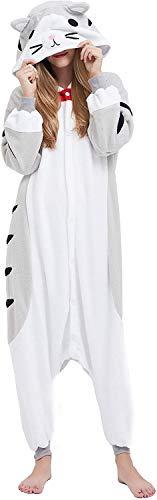 Pyjama Animaux Unisexe Cosplay Halloween Déguisement Adulte Costume Animal Pyjamas Combinaison Cosplay pour Carnaval,Chat au Fromage,S