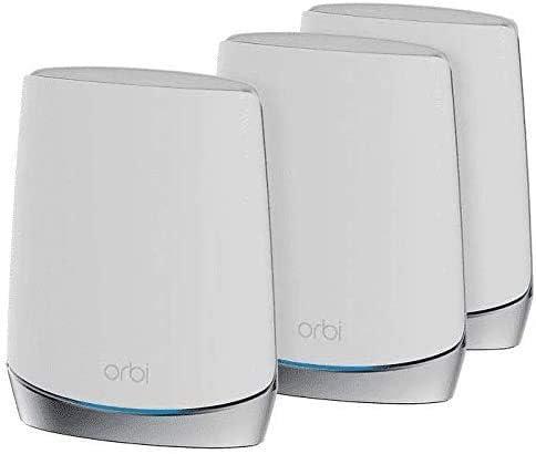 NETGEAR Orbi RBK753 - Wi-Fi System (router, 2 Extenders) - Up To 7,500 Sq.ft - Mesh - GigE, 802.11ax - 802.11a/b/g/n/ac/ax - Tri-Band - RBK753-100NAS (Renewed)