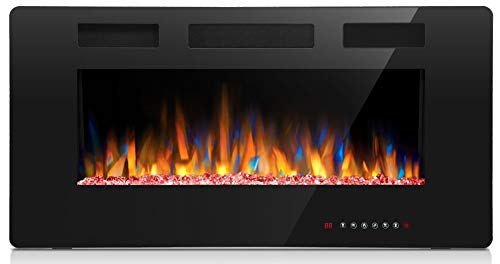 Joy Pebble Electric Fireplace, in-Wall Recessed and Wall Mounted 750/1500W Fireplace Heater, Touch Screen, Remote Control with Timer, Black (36 inch)