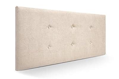 Cabecero tapizado acolchado para dormitorios con estructura en madera de pino Cabecero de cama acolchado con espumación HR Cabecero tapizado en tela antimanchas/polipiel Para camas de 90 (100 x 57 cm) tela beige