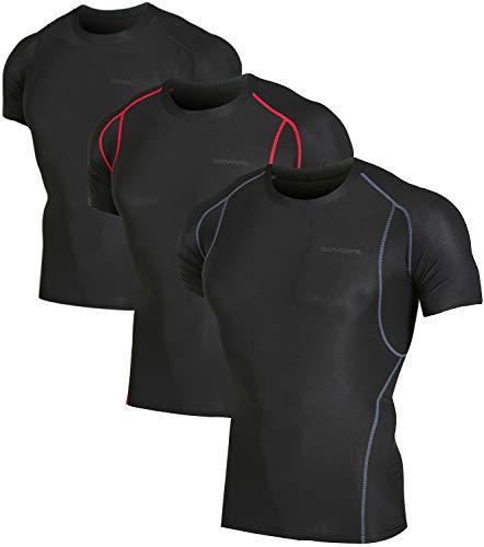 DEVOPS Men's 3 Pack Cool Dry Athletic Compression Short Sleeve Baselayer Workout T-Shirts (Large, Black/Black/Black)