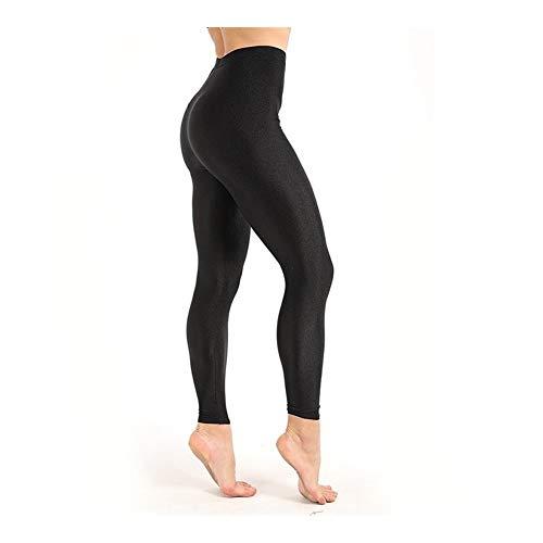 HXSZWJJ Leggings de Entrenamiento for Mujer Legging Casual Brillante y Brillante Leggings de Ajuste Femenino Tallas Grandes M-XXXL Leggings Fluorescentes sólidos Negros (Color : Black, Size : XL)