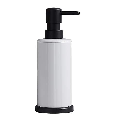 Liquid Soap Dispenser White Freestanding Aluminum Hand Soap Dispenser 8.45 Oz Rustproof for Bathroom and Kitchen
