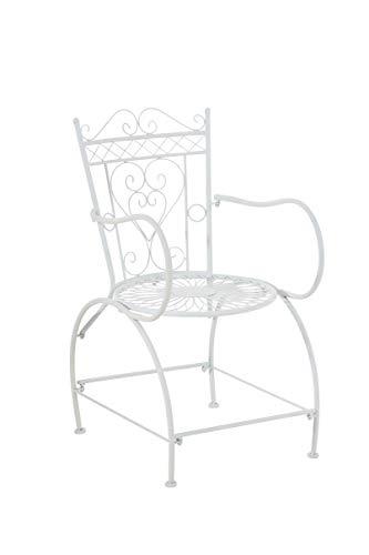 Chaise de Jardin en Fer Forgé Sheela - Design Romantique avec Dossier Accoudoirs et Repose-Pieds - Chaise de Terrasse en Fer avec de Belles, Couleurs:Blanc