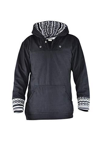virblatt - Vintage Pullover | 100% Baumwolle | Baja Hoodie Hippie Jacke Herren Hoodie Vintage Kleidung Herren Winterfest L schwarz