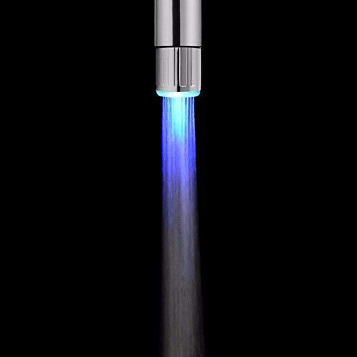 SHBV Grifo Luminoso LED Boquilla luz de Color RGB Temperatura Intermitente aireador Ahorro de Agua Cocina Accesorios de baño Azul