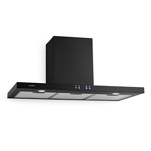 Klarstein Limelight - Campana extractora de pared, Extracción máxima de 600 m³/h, 3 niveles de potencia, Temporizador, 2 filtros de grasa apto lavavajillas, Iluminación LED, 90 cm, Negro