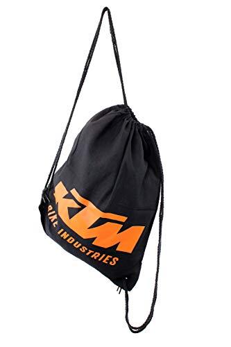 KTM Rucksack Turnbeutel Stoffbeutel - Schwarz Orange Inkl. Schlüsselband und Bisomo Sticker