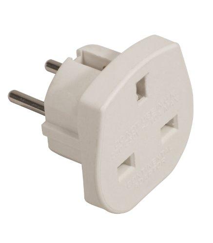 Electrovision - Adattatore da viaggio, da spina Regno Unito a Euro Schuko, colore: Bianco