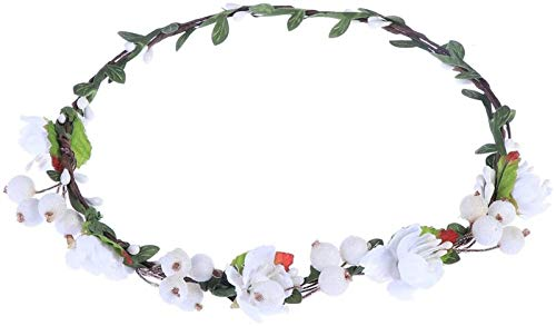 Auoeer Floral Crown Wreath Artificial Berry Garland Wedding Floral Headband for Wedding Party Celebration(Green) (Color : White)