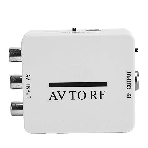Adaptador de conversión de Video, Mini Adaptador de Audio Amplificador de TV RCA AV CVSB a RF 67.25MHz 61.25MHz, Soporte para TV, VHS, VCR, Grabadora de DVD, etc.