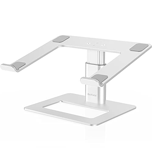 """Laptop Stand, BoYata Ergonomic Aluminum Height Adjustable Computer Stand Laptop Holder for Desk, Compatible with MacBook Pro/Air, Dell, Lenovo, HP, Samsung, More Laptops 11-17"""""""