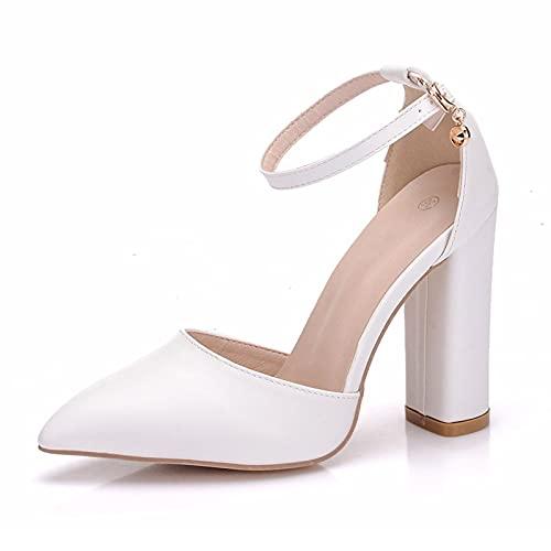 ZDERET Zapatos Casuales De Tacón Grueso Puntiagudos para Mujer Primavera Verano Otoño...