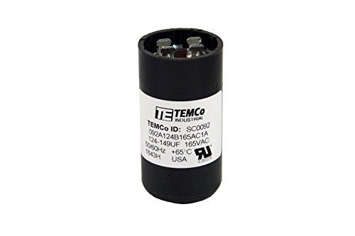 TEMCo 124-149 uf/MFD 165 VAC Volts Round Start Capacitor 50/60 Hz AC Electric - Lot -1