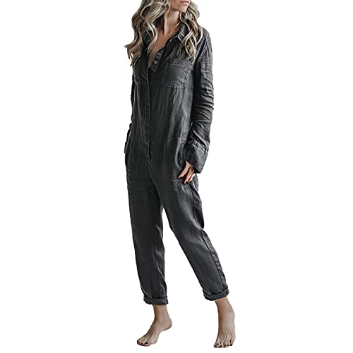 Akivide Womens Long Sleeve Cotton Linen Coverall Jumpsuits for Women Casual (Black, L)
