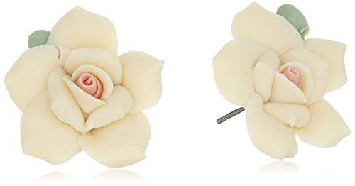 1928 Jewelry Classic Porcelain Rose Post Stud Earrings