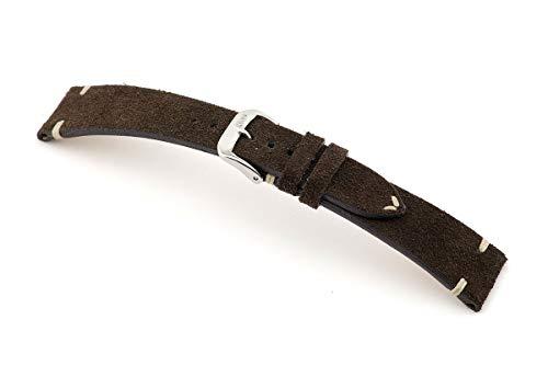 RIOS1931 Hudson Mod. 155 - Correa de reloj para hombre (piel de ante auténtica, ancho 18 mm, longitud 114/82 mm), color marrón