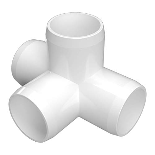 FORMUFIT F0344WT-WH-8 4-Way Tee PVC Fitting, Furniture Grade, 3/4' Size, White (Pack of 8)