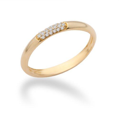 MIORE MF9008RYR - Anillo de oro amarillo de 9 quilates con diamante (.06), talla 18 (18,47 mm)
