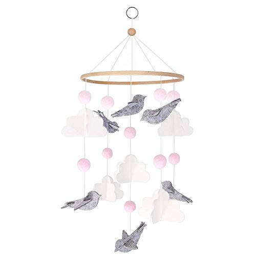 DIQC Baby Cot Crib Mobile Girl Boy Cloud Bird Small Foot Forest Animal Cot Mobile Felt Baby Nursery Mobile Travel Cot Mobile Baby Cot Toys Bedside Bell Rattle Toy for Newborn Babies Baby Wind Chimes