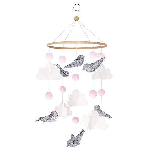 HAPPY FINDING Babybett Mobile Windspiel Rassel Spielzeug aus Bambus, Neugeborenen Kinderzimmer hängende Bettglocke mit Filz Ball und Vogel Wolken Dekor, Holz Ornament Geschenk für Baby
