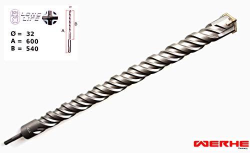 WERHE SDS PLUS Betonbohrer 32 x 600 mm Hammerbohrer Steinbohrer Beton Bohrer