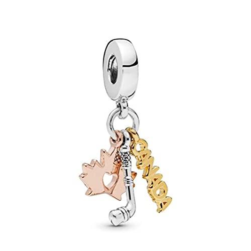 Colgante de color plateado, pulseras con dijes, cuentas de mujer DIY, joyería de Europa, regalo-Z339