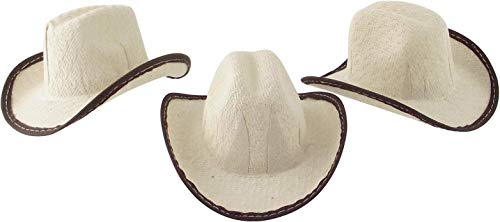 Mini Cowboy Rodeo Hats, 2 inches Tall Size - 12 Pack (Beige) (12)