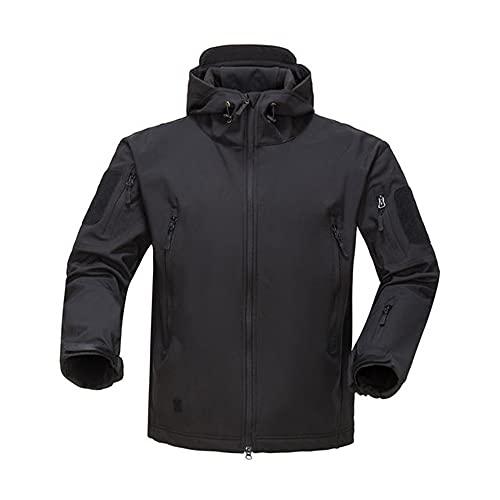Hombres Soft Shell con capucha capa impermeable ejército a prueba de viento ropa Camo colores, Negro, XL