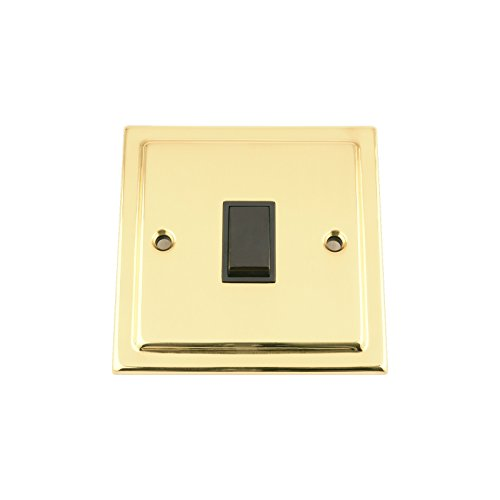 Lichtschalter, 1 Gang, viktorianisches poliertes Messing, weißer Einsatz, Metall-Kippschalter, 10 A, 1 Gang, 2 Wege