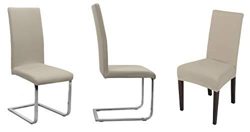 BEAUTEX Stuhlhusse Jersey, 2er Set elastische Stretch Husse Baumwolle Bi-Elastic, Farbe wählbar (Beige)