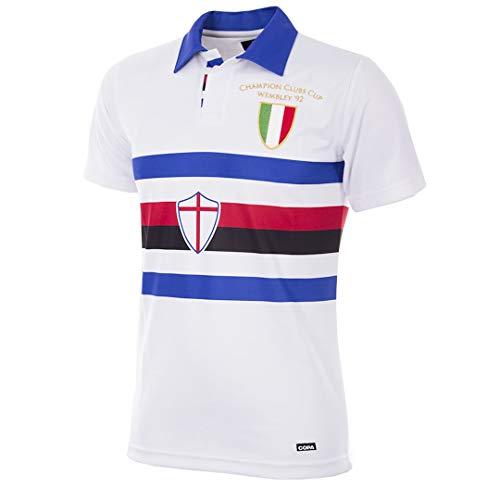Copa Camiseta de fútbol Retro con Cuello de fútbol de los Estados Unidos C. Sampdoria 1991-92, Hombre, 154, Blanco, L