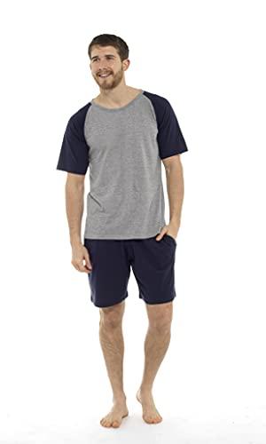 CityComfort Pigiama Uomo Estivo in Cotone | Pigiama Uomo Corto Due Pezzi T-Shirt con Maniche Corte & Pantaloncini (3XL, Blu Scuro)