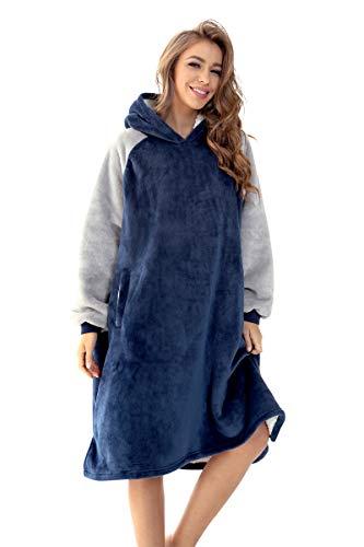 Loveternal Hoodie Decke Sweatshirt Blanket Kapuzenpullover Super weich und bequem Warm Riesen Flanell Pullover übergroßer Hoodie für Männer Damen Blau