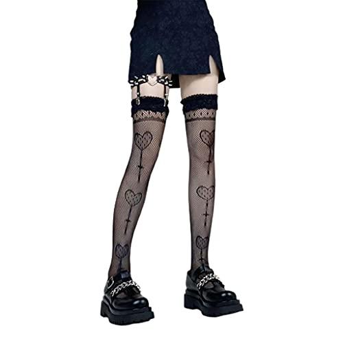 Kemelo Medias Altas hasta el Muslo de Rejilla Sexy para Mujer Medias de Encaje Lolita de corazón Lollipop, Calcetines Calientes, Negro