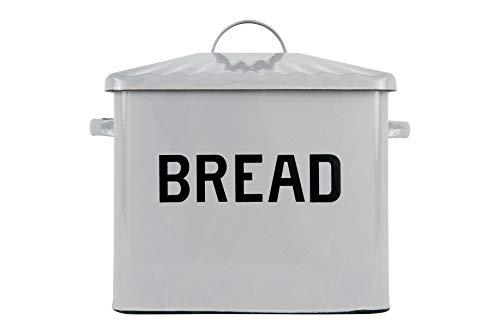 Creative Co-Op Enameled Metal Distressed Bread Box with Lid, Grey